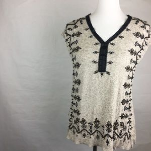 Lucky Brand Cream Embroidered Blouse